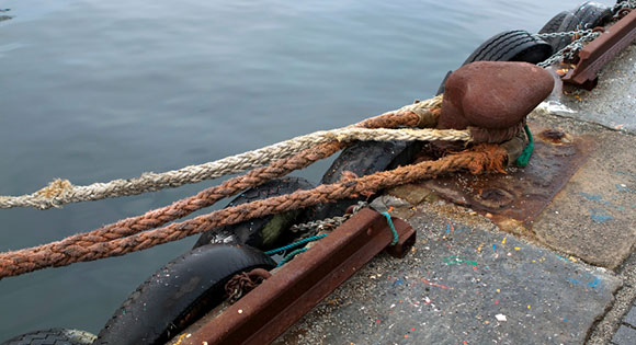 Ropes on boat dock